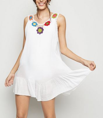 Cameo Rose White Floral Crochet Panel Dress
