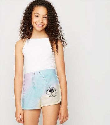 Girls Multicoloured Tie Dye San Diego Slogan Shorts by New Look