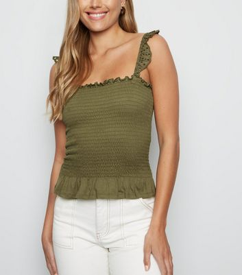 Tall Khaki Broderie Shirred Frill Cami