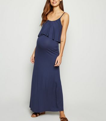 Maternity Navy Layered Nursing Maxi Dress