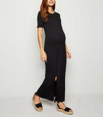 21dac5b90fb7 Maternity Black Maxi T-Shirt Dress | New Look
