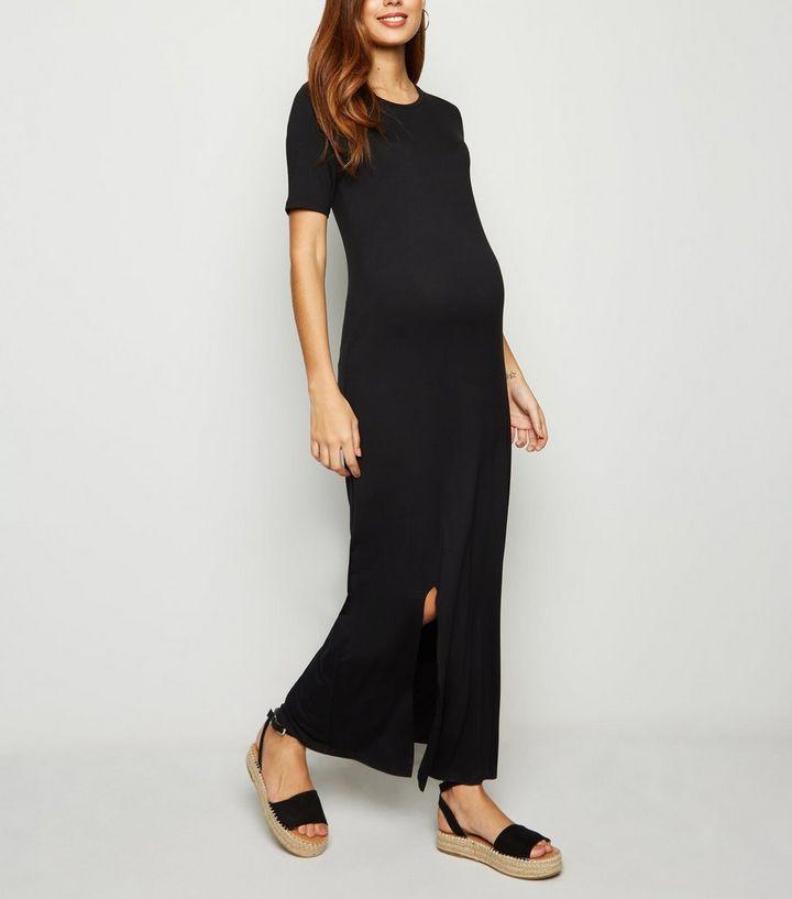 3612796a2e38e Maternity Black Maxi T-Shirt Dress   New Look