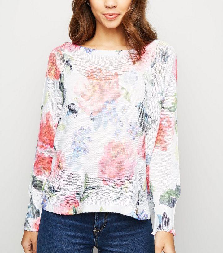 cb97250e538544 Cameo Rose White Floral Fine Knit Jumper