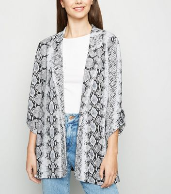 Tall Light Grey Snake Print Blazer