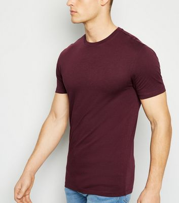 Burgundy Crew Neck Muscle Fit T-Shirt