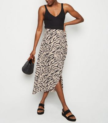 Tall Black Zebra Print Tie Side Midi Skirt