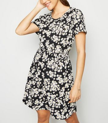 Tall Black Daisy Shirred Waist Dress
