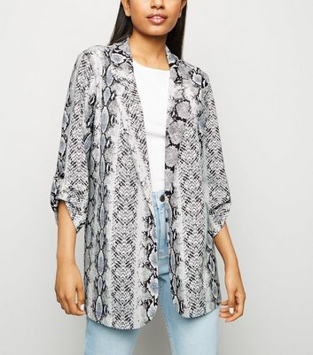 Petite Light Grey Snake Print Blazer