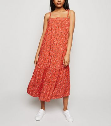 Petite Red Ditsy Floral Smock Midi Dress