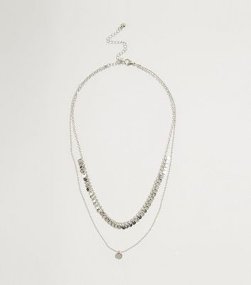 Silver Disc Layered Chain Necklace