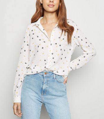 White Heart Print Button Up Long Sleeve Shirt
