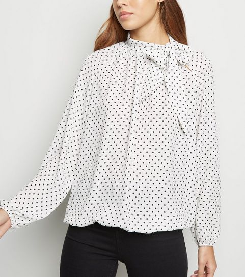 a6347a500e4 ... White Spot Tie Neck Long Sleeve Shirt ...