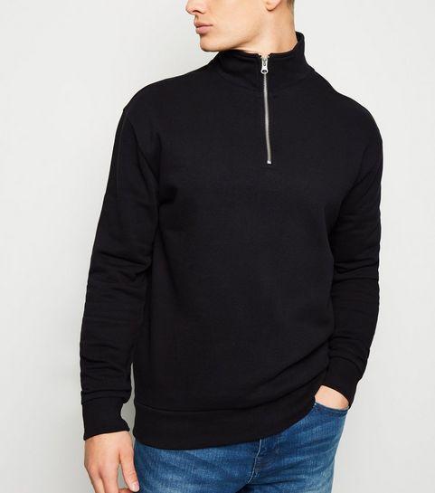 60fb8026788b ... Black Zip Funnel Neck Sweatshirt ...