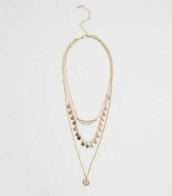 Gold Layered Pendant Chain Necklace