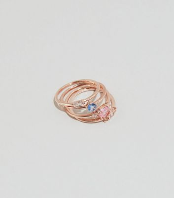 4 Pack Rose Gold Cubic Zirconia Stacking Rings