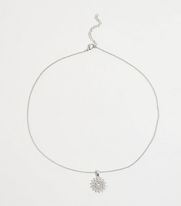 Silver Cubic Zirconia Sunflower Pendant Necklace