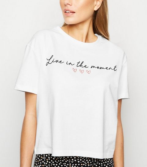 bbf86327 ... White Live In The Moment Slogan T-Shirt ...
