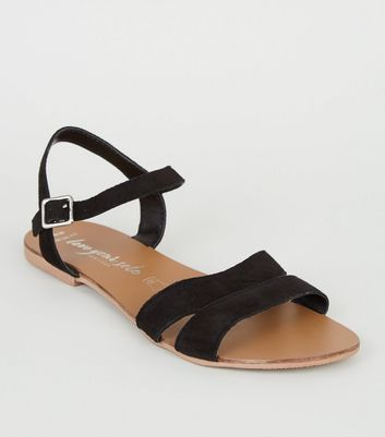 Wide Fit Black Suede 2 Part Sandals