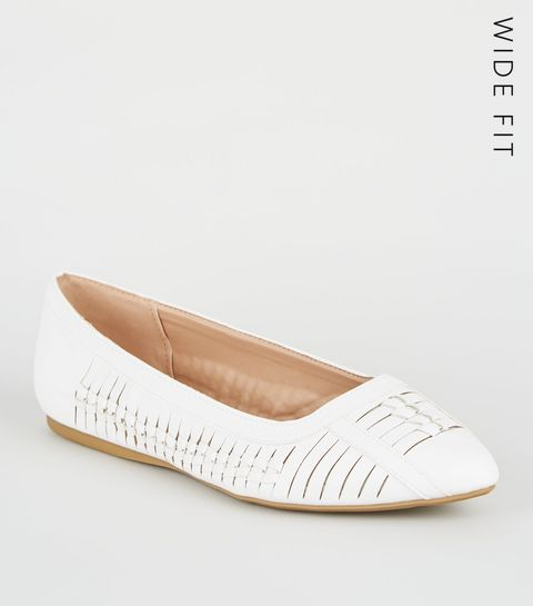 3da4f1bf0414 ... Wide Fit White Leather-Look Woven Pumps ...