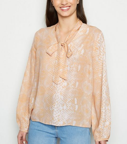 d9f6b40981 ... Pink Snake Print Tie Neck Blouse ...