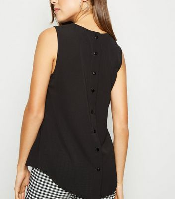 Black Sleeveless Button Back Blouse