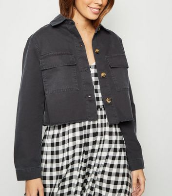 Black Raw Hem Cropped Shacket