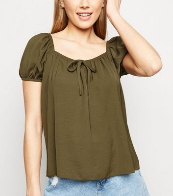 Tall Khaki Tie Front Puff Sleeve Blouse