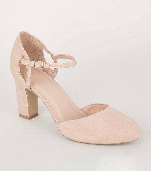 dccc7cdf631 ... Wide Fit Nude Block Heel Court Shoes ...