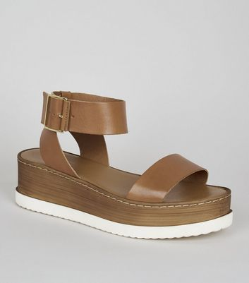 Tan Premium Leather 2 Part Flatform Sandals