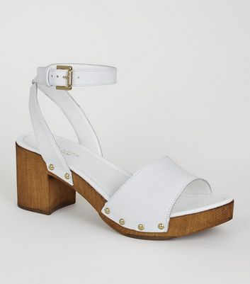 White Premium Leather Chunky Wood Sandals