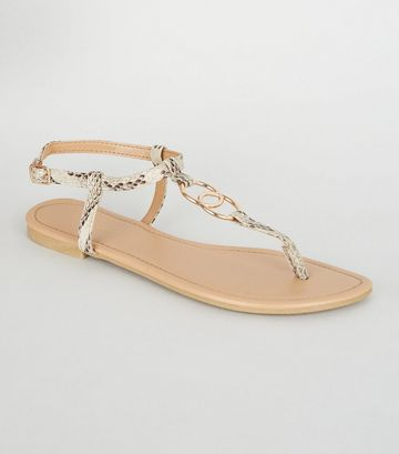 Stone Faux Snake Ring Strap Flat Sandals