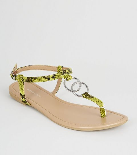 189947ac537f ... Green Neon Faux Snake Ring Strap Flat Sandals ...