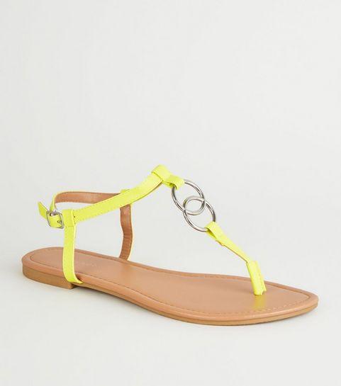 236c5e265e7f ... Yellow Neon Ring Strap Flat Sandals ...