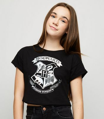 Girls Black Harry Potter Hogwarts Slogan T-Shirt