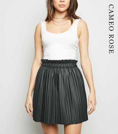 4da1d3765e3e ... Cameo Rose Black Leather-Look Pleated Skirt ...