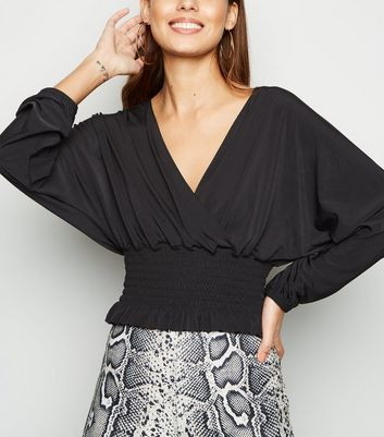 Cameo Rose Black Wrap Front Top