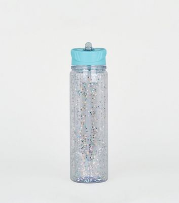 Silver Glitter Star Straw 550ml Bottle