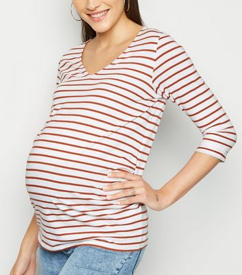 Maternity Rust Stripe 3/4 Sleeve Top