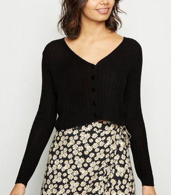 Black Ribbed Fine Knit Crop Cardigan by New Look
