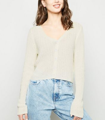 White Ribbed Fine Knit Crop Cardigan