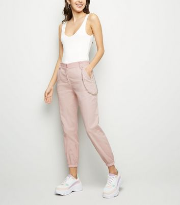 Pink Chain Strap Utility Cargo Trousers