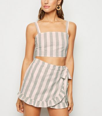 Green Stripe Glitter Beach Skort