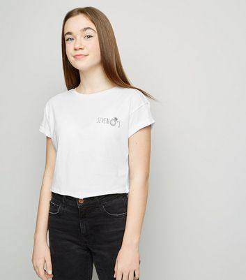 "Girls – Weißes T-Shirt mit ""Seven Rings""-Slogan"
