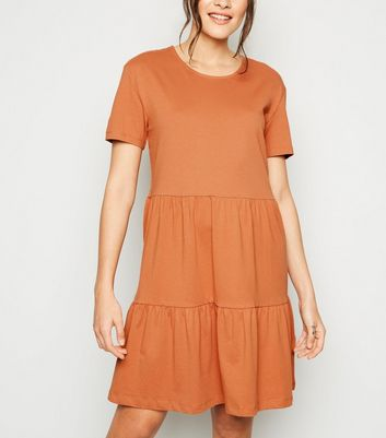 Rust Short Sleeve Smock Dress