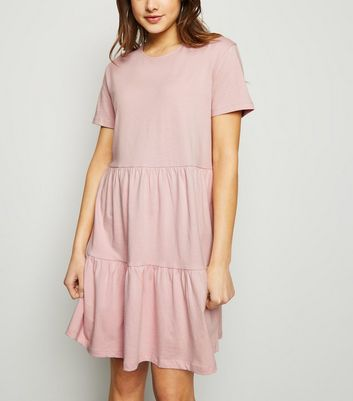 Pale Pink Short Sleeve Smock Mini Dress