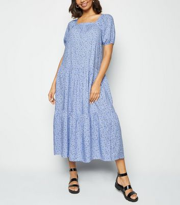 Blue Ditsy Floral Milkmaid Midaxi Dress