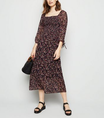 Black Floral Chiffon Shirred Midi Dress