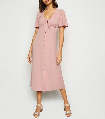 Pink Herringbone Tie Button Front Midi Dress