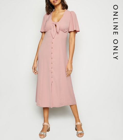 af6bc640450c ... Pink Herringbone Tie Button Front Midi Dress ...