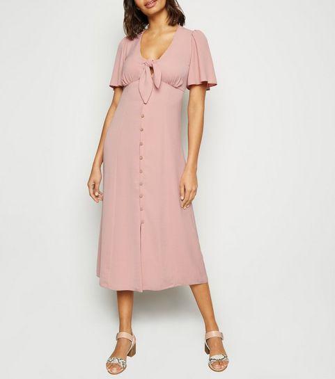 2284534bda8 ... Pink Herringbone Tie Button Front Midi Dress ...